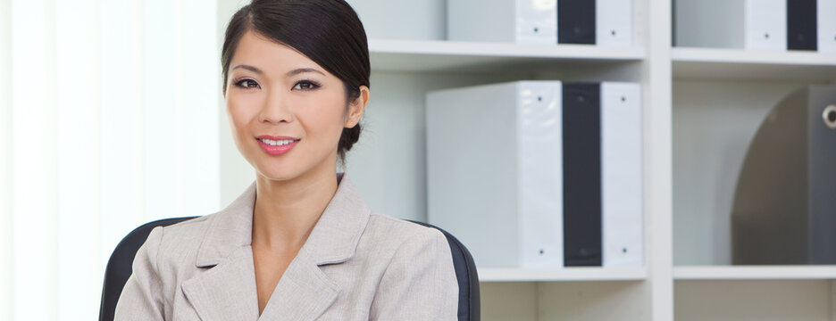 Asian Chinese Woman or Businesswoman in Office Panorama Web Banner