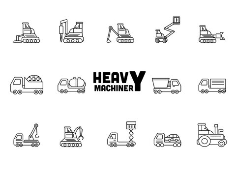 Illustration Of Heavy Machinery Icons Set In Stroke Style.