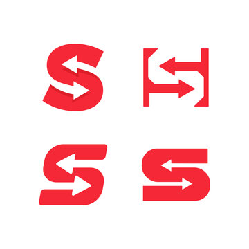 Red letter S with arrows in negative space of letter. Awesome monogram template. Flat style vector logo concept for exchange, finance, transfer, change game skins emblem. Vector illustration