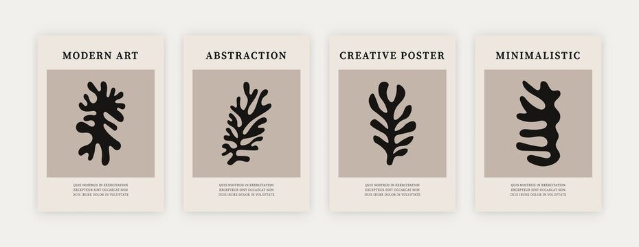 Contemporary minimalist posters. Matisse inspired abstract shapes, creative art prints. Vector monochrome illustration
