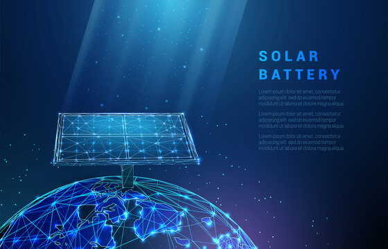 Abstract blue solar battery on planet earth, panel, renewable energy