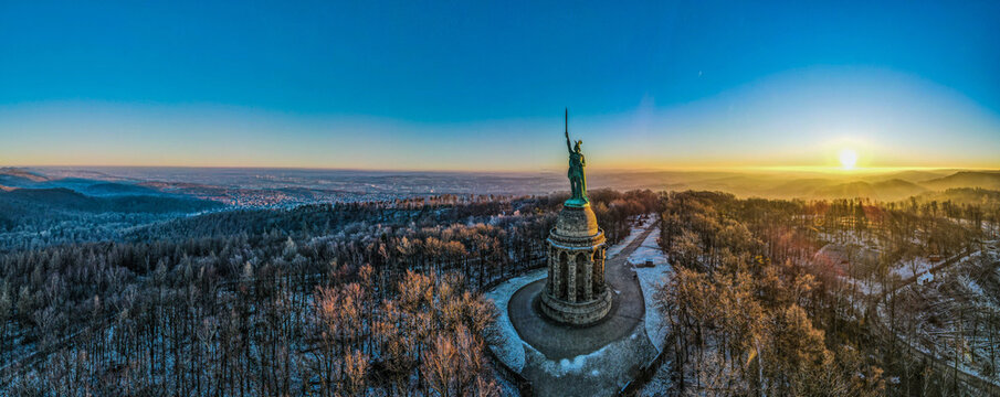 Aerial panoramic view of the famous Hermannsdenkmal - Hermann's Monument - in Detmold, Germany
