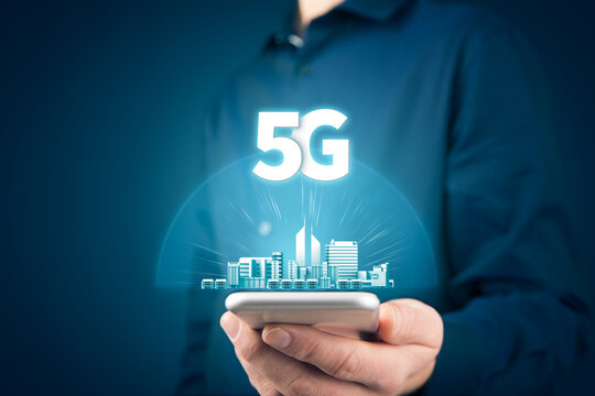 5G internet connection and smart city concept