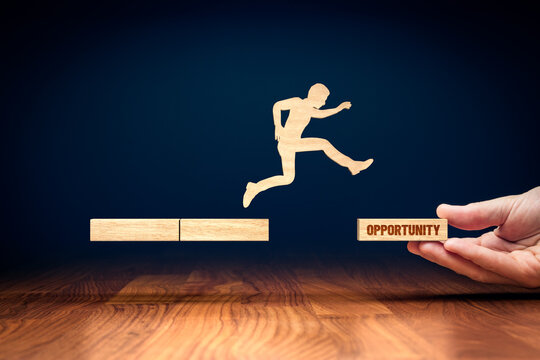 Coach motivate to personal development and jump for opportunities