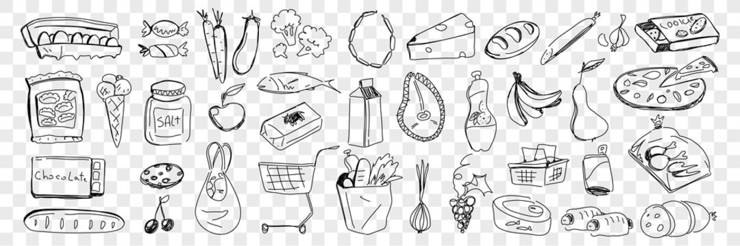 Foods from grocery purchase doodle set. Collection of hand drawn fresh bread cheese vegetables fruits eggs fish pizza cookies sweets salt dairy products bought in supermarket on transparent background
