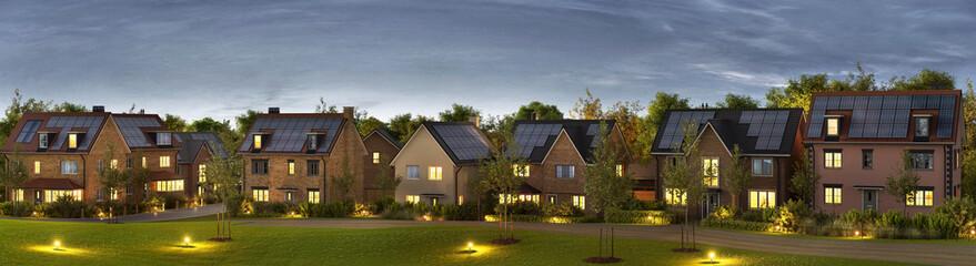Fototapeta Beautiful new homes with solar panels in suburban neighborhood. Night view obraz