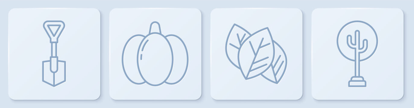 Set line Shovel, Leaf or leaves, Pumpkin and Tree. White square button. Vector.