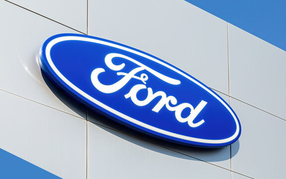 Ford logo on the office of official dealer
