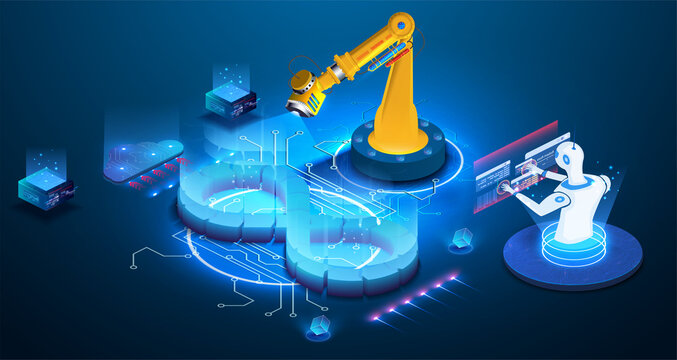 Banner of  AI DevOps concept. Development operations, continuous process of software production and administration. Automation cycles software construction 3d vector line art web banner