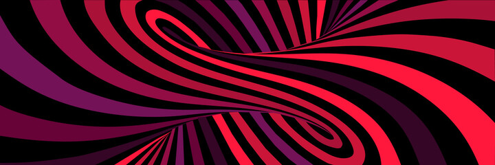 Fototapeta Colorful red abstract vector lines psychedelic optical illusion illustration obraz