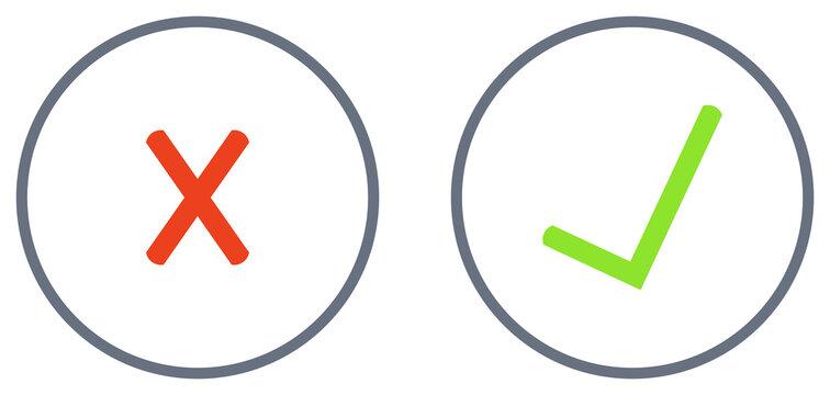 Grünes Häkchen und rotes X im Kreis - Zustimmen und Ablehnen