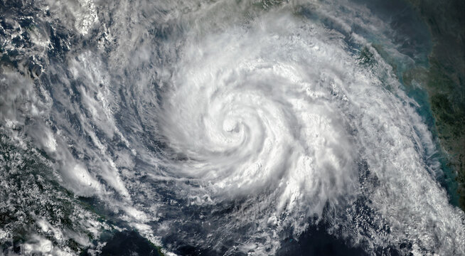Super Typhoon, tropical storm, cyclone, hurricane, tornado, over ocean. Weather background. Typhoon,  storm, windstorm, superstorm, gale moves to the ground.  Elements of this image furnished by NASA.