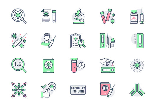 Coronavirus test line icons. Vector illustration include icon - vaccine clinical trial, antibody, rapid kid, blood sample outline pictogram for covid19 diagnostic. Green Color, Editable Stroke