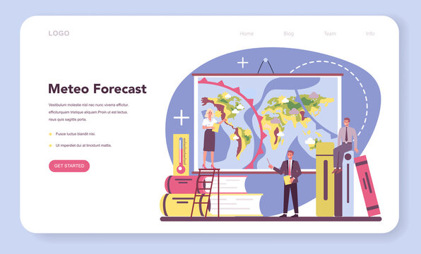 Meteorologist web banner or landing page. Weather forecaster