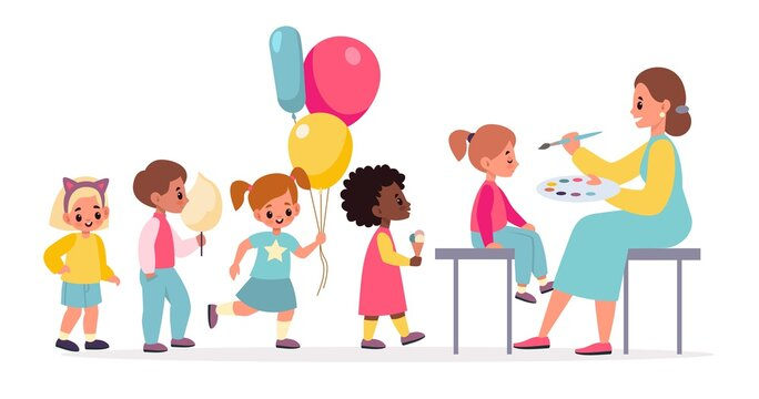 Funny makeup. Painted children faces woman makes party makeover for kids, happy boys and girls with cotton candy and balloons in queue. Birthday celebration vector cartoon concept
