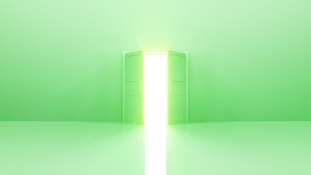 Door Opening to the brilliant Future, way to Heaven and Success. 3D illustration.