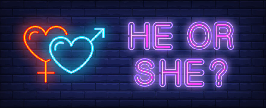 He or she neon text with heart shaped gender symbols