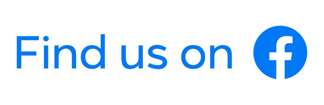 Original Facebook logo with Find Us words, vector illustration