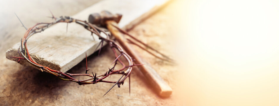 Passion Of Jesus Christ. Crown of thorns, hammer and wooden plank on ground, banner design