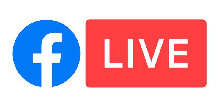 Facebook Live logo, vector illustration