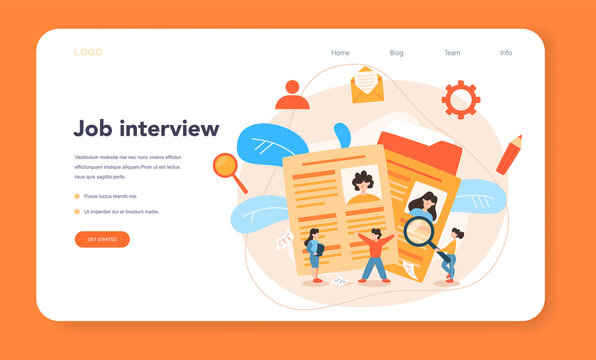 Job interview web banner or landing page. Idea of employment and hiring.