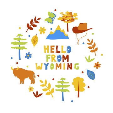 USA collection. Hello from Wyoming theme. State Symbols round shape card on white