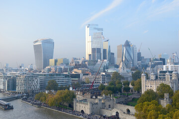 aerial view of the west part of city from the top of the tower - London, England, United Kingdom (UK) Wall mural