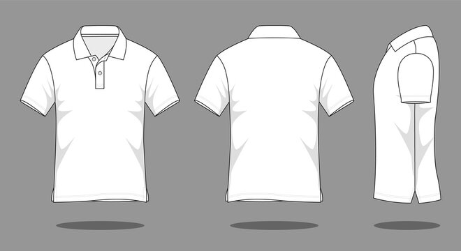 White short sleeve polo shirt template vector.Front, back and view.