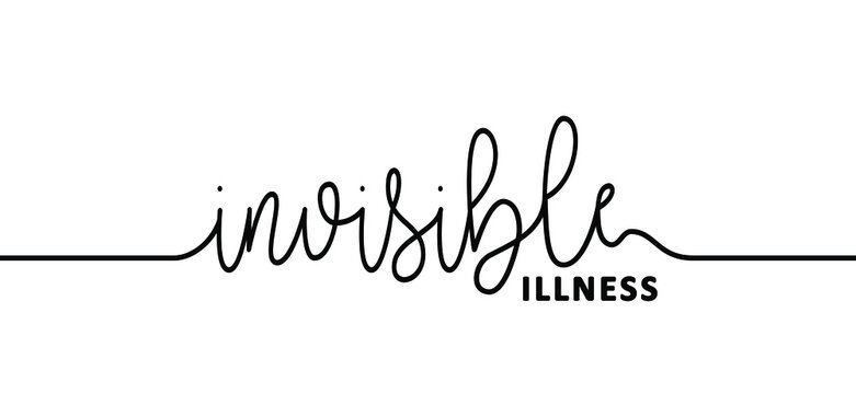 Slogan invisible illness. Medical condition, visible signs or symptoms, that isn't easily visible to others. This includes chronic physical conditions. Flat vector brain disease sign.