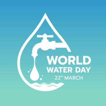 world water day with drop water falling from the tap in border drop water sign on gradient blue green background vector design