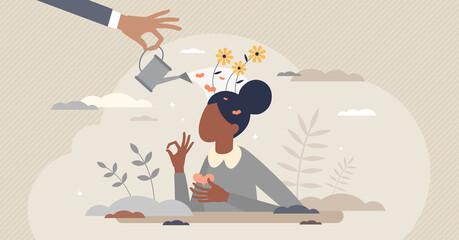 Fototapeta Emotional self care as positive female mental balance tiny person concept obraz