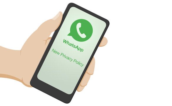 New whatsapp privacy policy with green lettering on hand hold smartphone isolated. Cartoon flat illustration of a phone about new personal information settings. Verona, 14-02-21