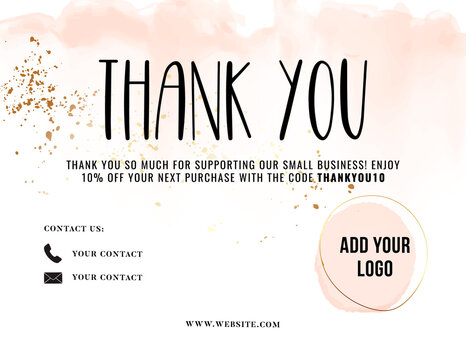 Thank You Card greeting, customer service tempalte thank you for purchase card , engaging promotion Voucher , post purchase insert  10 % off gift, review