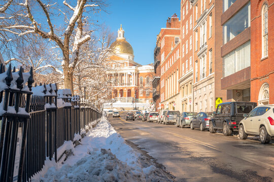Looking up Park St at the Massachusetts State House