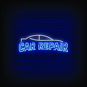 Car Repair Logo Neon Signs Style Text Vector