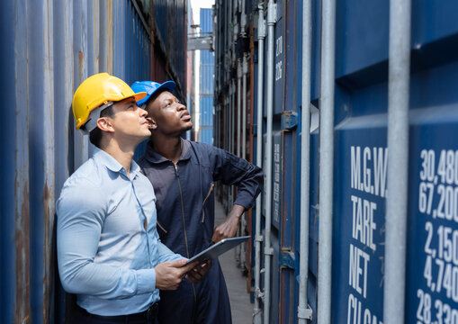 Caucasian Inspectors  Inspecting the Containers at the Port