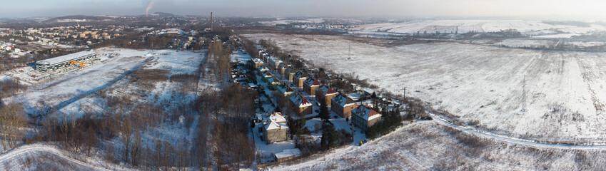 Panorama miasta Wojkowice w powiecie będzińskim. Widok z drona.