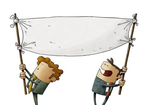 two men hold a blank banner while moving it. claim concept. isolated