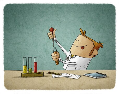 scientist is struggling to discover something while mixing liquids in test tubes.