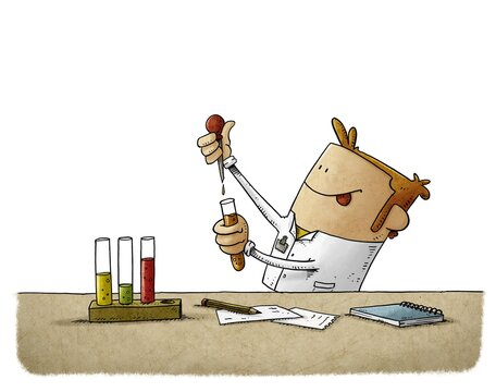 scientist is struggling to discover something while mixing liquids in test tubes. isolated