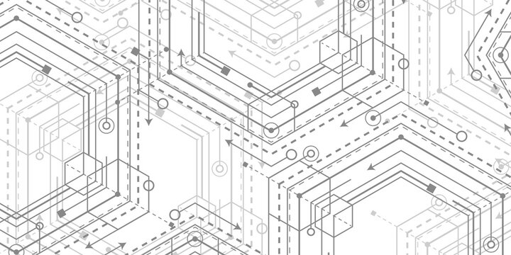 Technological abstract linear background.Engineering drawing of future technologies .Computer aided design systems.Vector illustration .