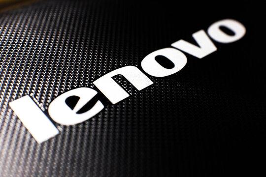 LVIV, UKRAINE - October 03, 2020 : Lenovo label closeup photo.