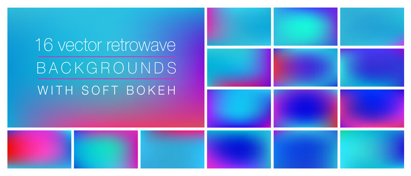 16 retrowave 1980s style backgrounds with soft bokeh and smooth blurry colors. Ideal background templates for using as backdrop in social media, ads, emails, banners, web pages with pro look&feel.