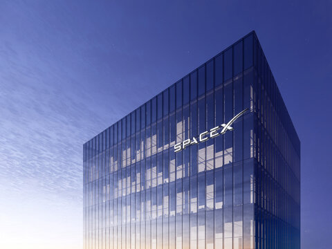 June 15, 2020, Editorial Use Only, 3D CGI. SpaceX Signage Logo on Top of Glass Building. Workplace in High-rise Office Headquarter at Night Time.