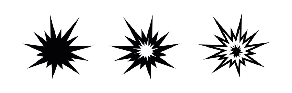 Explosion gun shot icon. Editable line vector. Zigzag element flash shock wave. Flat style trendy explosion icon. Template for application, user interface and logo, vector illustration.
