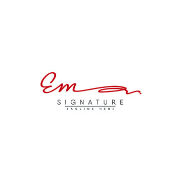 EM Initial Letter Logo - Handwritten Signature Logo