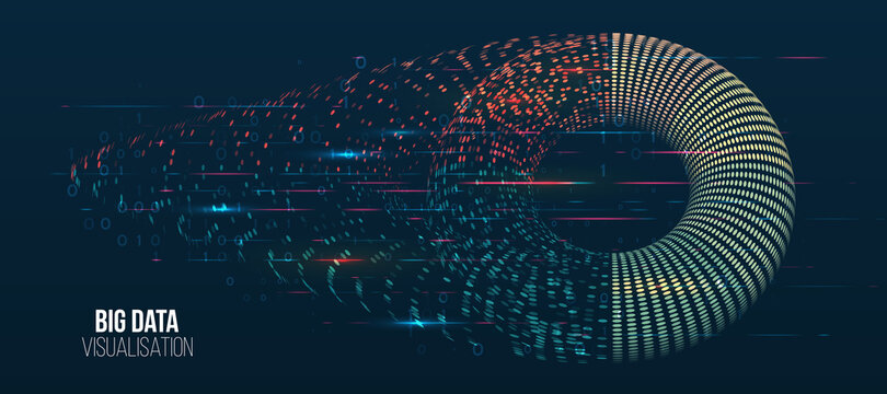 Wide Big data visualization. Machine learning algorithm for information filter and analytic. Abstract background with circle array and binary code. Data array visual concept. Big data connection