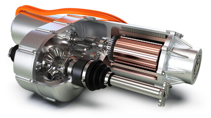 Elektromotor eines modernen Autos, Schnittansicht, Nahaufnahme, Detail
