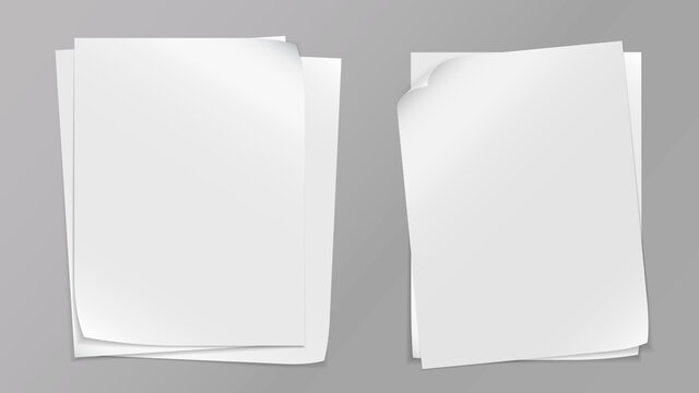 White stacked note, notebook paper are on grey background for text, advertising or design. Vector illustration
