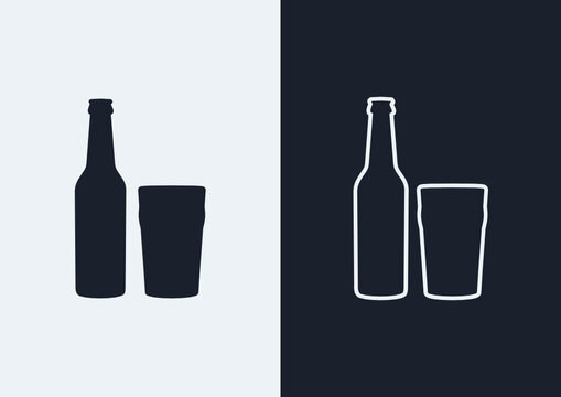 Beer bottle and nonic pint glass icon. (Outlined and silhouette vector of beer bottle and nonic pint glass)
